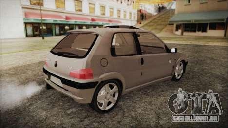 Peugeot 106 para GTA San Andreas traseira esquerda vista