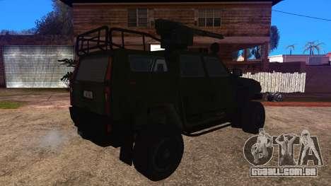 Komatsu LAV 4x4 with Vulcan Gatling Gun para GTA San Andreas esquerda vista
