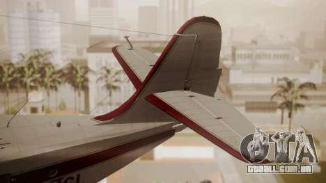Grumman G-21 Goose N121GL para GTA San Andreas traseira esquerda vista