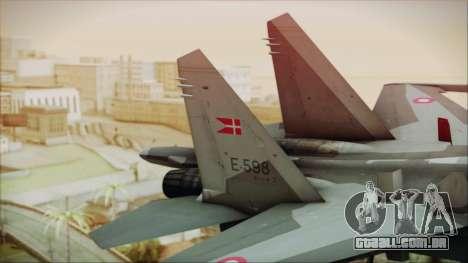 Sukhoi SU-27 Royal Danish Air Force para GTA San Andreas traseira esquerda vista