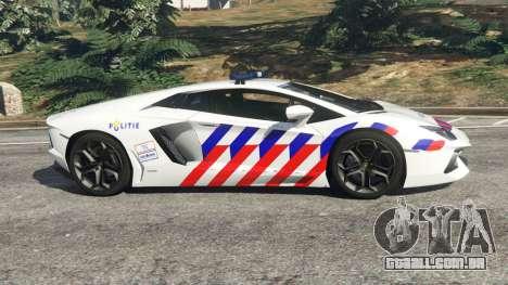 GTA 5 Lamborghini Aventador LP700-4 Dutch Police v5.5 vista lateral esquerda