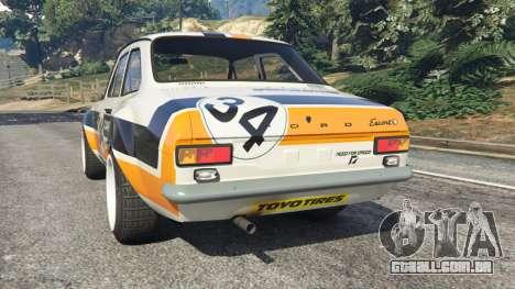 GTA 5 Ford Escort MK1 v1.1 [Carrillo] traseira vista lateral esquerda