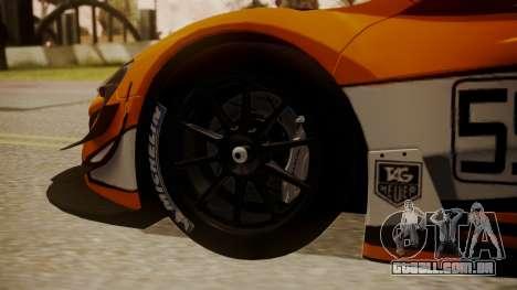 McLaren 650S GT3 2015 para GTA San Andreas traseira esquerda vista