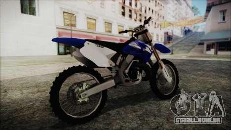 Yamaha YZ250 para GTA San Andreas traseira esquerda vista