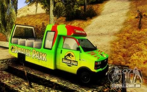 Jurassic Park Tour Bus para GTA San Andreas traseira esquerda vista