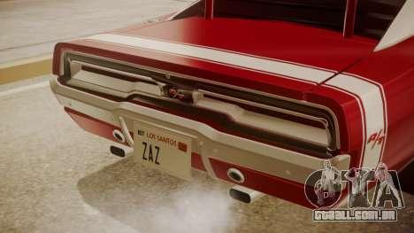 Dodge Charger O Death RT 1969 para GTA San Andreas vista traseira