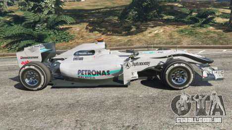 GTA 5 A Mercedes-Benz MGP W01 [Michael Schumacher] v1. vista lateral esquerda