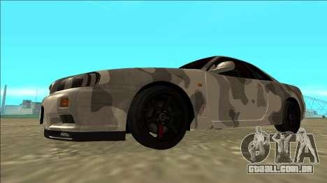 Nissan Skyline R34 Army Drift para GTA San Andreas esquerda vista