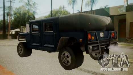 Patriot III para GTA San Andreas traseira esquerda vista