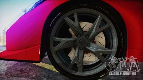 Nissan 370Z Nismo 2010 Angel Beats Itasha para GTA San Andreas traseira esquerda vista