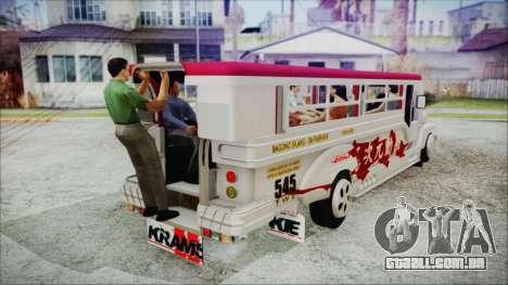 Hataw Motor Works Jeepney para GTA San Andreas traseira esquerda vista