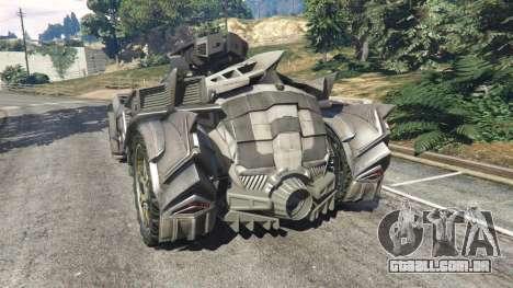GTA 5 Batmobile Mk2 v0.9 traseira vista lateral esquerda