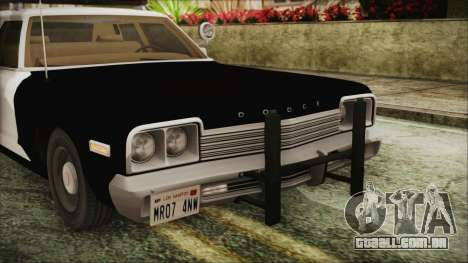 Dodge Monaco 1974 SFPD IVF para GTA San Andreas vista traseira
