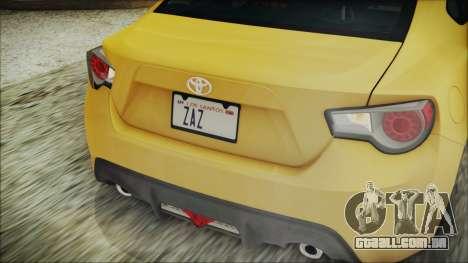 Toyota GT86 (ZN6) 2012 HD Algeria PJ para GTA San Andreas vista superior