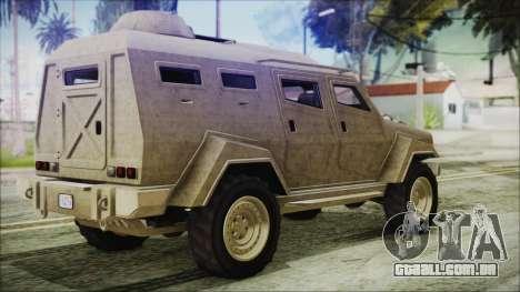 GTA 5 HVY Insurgent Van para GTA San Andreas esquerda vista