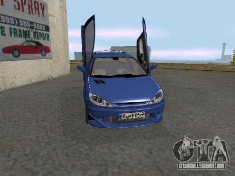 Pegeout 206 PickUP para GTA San Andreas esquerda vista