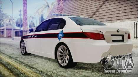 BMW M5 E60 Bosnian Police para GTA San Andreas esquerda vista