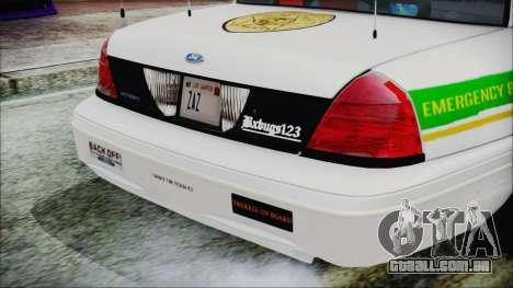 Ford Crown Victoria Miami Dade v2.0 para GTA San Andreas vista traseira