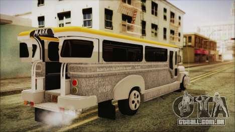 Markshop Jeepney para GTA San Andreas esquerda vista