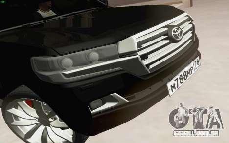 Toyota Land Cruiser 200 2016 para GTA San Andreas vista interior