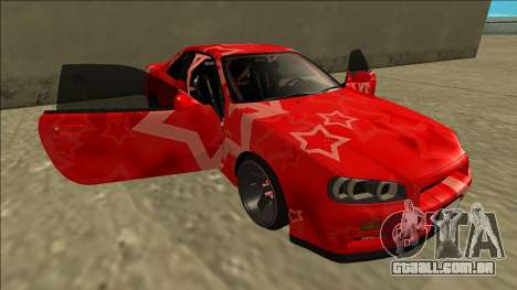 Nissan Skyline R34 Drift Red Star para GTA San Andreas vista inferior