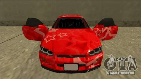 Nissan Skyline R34 Drift Red Star para GTA San Andreas vista superior