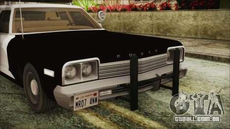 Dodge Monaco 1974 SFPD IVF para GTA San Andreas vista interior