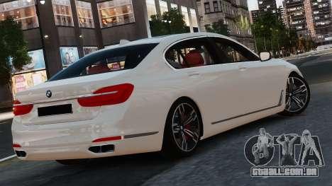 BMW 7-er 2016 para GTA 4 traseira esquerda vista