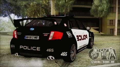 Subaru Impreza Police para GTA San Andreas esquerda vista