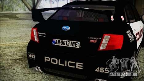 Subaru Impreza Police para GTA San Andreas vista traseira