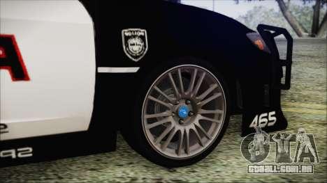Subaru Impreza Police para GTA San Andreas traseira esquerda vista