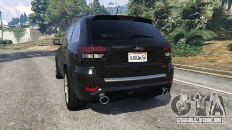 GTA 5 Jeep Grand Cherokee SRT8 2013 traseira vista lateral esquerda