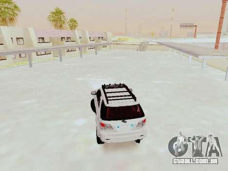 Toyota Fortuner 4WD 2015 Rustica V2 para GTA San Andreas traseira esquerda vista