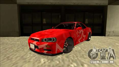 Nissan Skyline R34 Drift Red Star para GTA San Andreas traseira esquerda vista