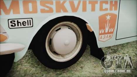 Moskvich 427 Rally v0.5 para GTA San Andreas traseira esquerda vista