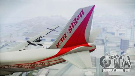 Boeing 747-237Bs Air India Rajendra Chola para GTA San Andreas traseira esquerda vista