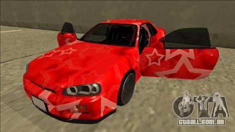 Nissan Skyline R34 Drift Red Star para vista lateral GTA San Andreas