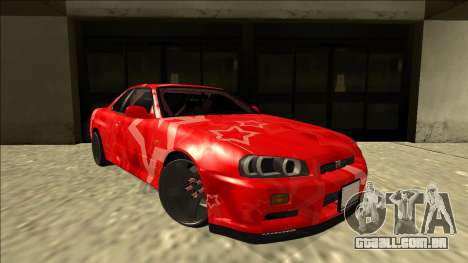 Nissan Skyline R34 Drift Red Star para GTA San Andreas vista direita