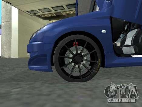 Pegeout 206 PickUP para GTA San Andreas traseira esquerda vista