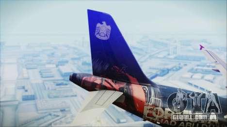 Airbus A320-200 Etihad Airways Abu Dhabi Grand para GTA San Andreas traseira esquerda vista
