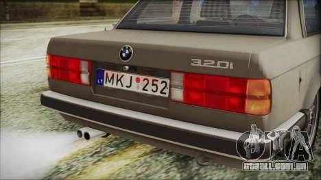 BMW 320i E21 1985 LT Plate para GTA San Andreas vista traseira