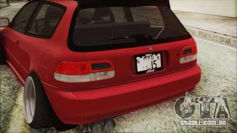 Honda Civic EG6 Hellaflush para GTA San Andreas vista traseira