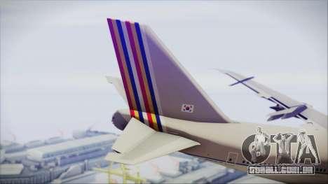 Boeing 747-48E Asiana Airlines para GTA San Andreas traseira esquerda vista