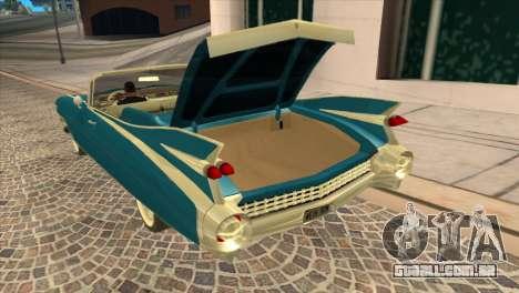 Cadillac Eldorado Biarritz 1959 para GTA San Andreas vista traseira