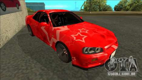 Nissan Skyline R34 Drift Red Star para GTA San Andreas esquerda vista