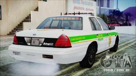 Ford Crown Victoria Miami Dade v2.0 para GTA San Andreas esquerda vista