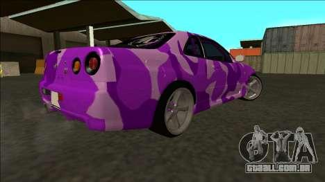 Nissan Skyline R34 Drift para GTA San Andreas vista interior