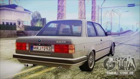 BMW 320i E21 1985 LT Plate para GTA San Andreas esquerda vista