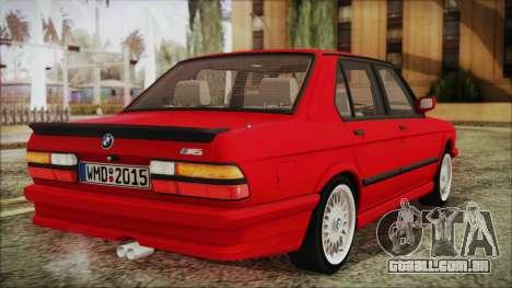BMW M5 E28 1988 para GTA San Andreas esquerda vista
