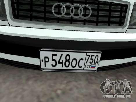 Audi 100 C4 1995 Police para vista lateral GTA San Andreas